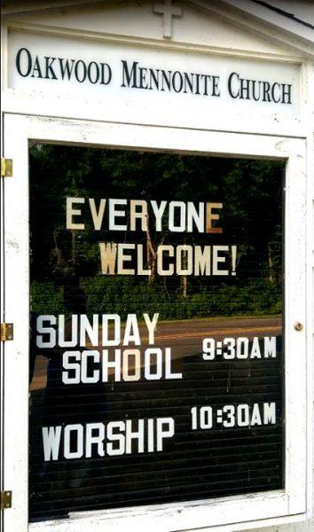 Sign at Oakwood Mennonite Church